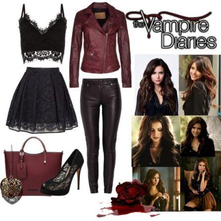 """Leren vest en een zwarte broek met top """"Vampire Diaries"""""""